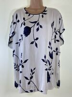 NEXT ivory white navy floral print short sleeve knit blouse top PLUS SIZE 20 48