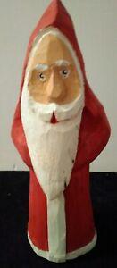 Vtg Santa Wood Carved  Signed & Numbered