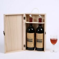 Vintage Pine Wood Rustic Double Bottle Wine Storage Box Wine Gift Case