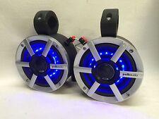 POLK Black Mini LED Kawasaki Honda Roll Cage Speakers UTV RZR Can Am Jeep ATV !