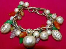 Vintage Beaded CHARM BRACELET~Colorful!!!