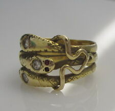 Estate Antique Vintage 18K Yellow Gold Diamond Ruby Three Coiled Snakes Ring
