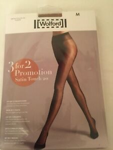 Wolford Satin Touch 20 Tights  3 for 2 promotion pack in MEDIUM In Caramel perf.