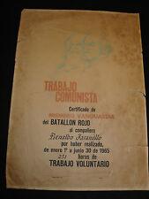 Trabajo Cuba Comunista 1965 Award 251 hours of service Carl marx Lenin signed
