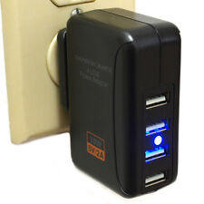 Black 2.0A 4 Port USB AC Home Wall Charger with changable plug iPhone Galaxy EVO