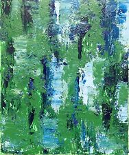 Estate Blu e Verdi-strutturato pittura su tela, originale astratto. sorprendente