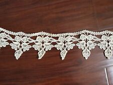 3 Yards of Beautiful High Quality Ivory Lace Trim Fabric Embroidery