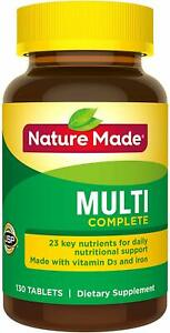 Nature Made Multi Complete with Iron 130 Tablets 23 Key Nutrients PKG MAY VARY