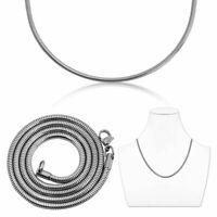 Schlangenkette Halskette 55cm Oder Armband Edelstahl Ø 2mm Silbern Collier Kette