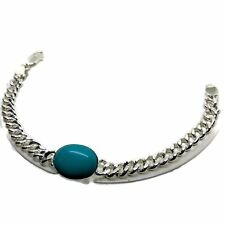 925 Solid Sterling Silver 4 Mm Men Turquoise (artificial) Curb Link Bracelet