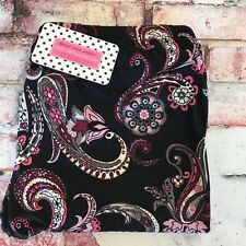 NEW BLACK & MAUVE FLORAL PAISLEY PRINT BUTTERY SOFT LEGGINGS ONE SIZE  OS