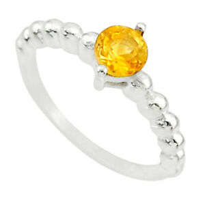 1.08cts Solitaire Natural Yellow Citrine 925 Sterling Silver Ring Size 6 R87230