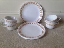 (4) Corelle Butterfly Gold Lunch / Dessert Plates + (4) Cups EUC
