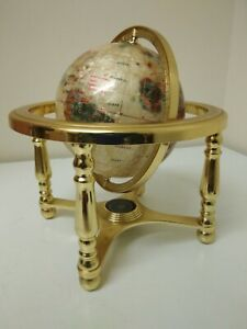World Earth Globe Rotating Gyroscope Frame Mother of Pear & Gem Stone + Compass