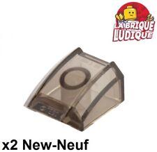 Lego - 2x Slope curved pente courbe 2x2 lip trans black fumé noir 30602 NEUF