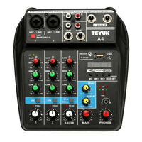 Sound Mixing Console with Bluetooth Record 4 Channels Audio Mixer US w/USB W4R3