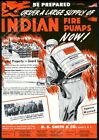1950 enemy bomber bombing USA WWIII art Indian Fire Pump vintage trade print ad