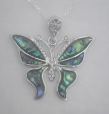 Necklace/Pendant Butterfly Abalone Shell new chain & box rhinestone narrow wings