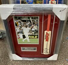 Brian Lara (West Indies) signed MRF Mini Bat - framed with photo and plaque