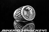 Thors Hammer Schmuck Ring mit Flammen 925 Silber Wikingerschmuck Herren Geschenk