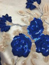 ROYAL BLUE ROSES SHINNY MATT 2 TONE SEQUINS LACE FABRIC SOLD BY THE YARD