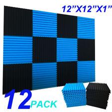 "12 Pack 1""x12""x12""  Wedge BLUE/CHARCOAL Acoustic Soundproofing Studio Foam Tiles"