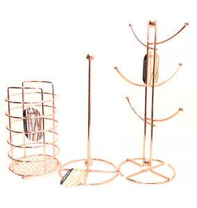 Copper Mug Tree Stand Kitchen Roll Utensil Holder Kitchen Tool Mugtree Rose Gold