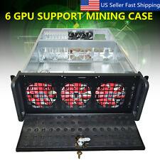6 GPU 5 Fans Steel Coin Mining Frame Rig Case BTC ETH Ethereum Miner Key Lock US