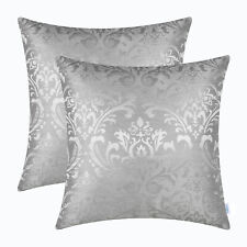 2Pcs Sliver Grey Shell Cushion Cover Damask Floral Shining Dull Contrast 45x45cm