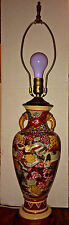 "Vintage Satsuma Lamp Vase Figural Scenes Wood Base 29"" With Brass Finial"
