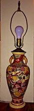 "Vintage Satsuma Lamp Vase Figural Scenes Wood Base 29"" With Brass Finial"