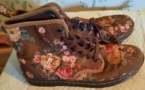Womens Doc Martens Dr Air Wair Shoreditch Floral Ankle Boots Size 6 Canvas Brown