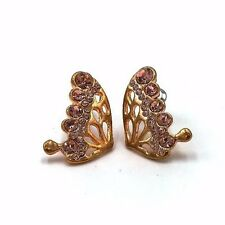 Antique vintage fashion diamante butterfly gold earring stud