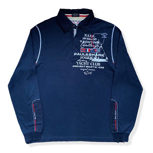 Vintage Paul & Shark Yachting Polo Shirt | Large L | Black Long Sleeve Rugby