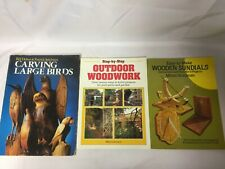 3x Woodwork Books Outdoor Woodwork Carving Large Birds Easy To Make Sundials