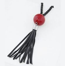 Red Bead, Black Tassel Long Necklace