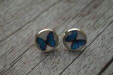 Ohrstecker Ohrringe Schmetterling Blau Damen Ohrschmuck Modeschmuck Cabochon