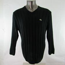Lacoste Mens L Large Knit Shirt Sweater Twisted Long Sleeve V Neck Black France