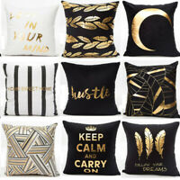 Gold Shining Printed Polyester Pillow Case Sofa Throw Cushion Covers Home Décor