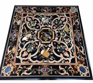 "42"" Marble Center Table Top semi precious stones inlay handmade art Home Decor"
