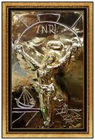 Salvador Dali Bronze Relief Sculpture Gold Edition Signed Christ Cross Signed