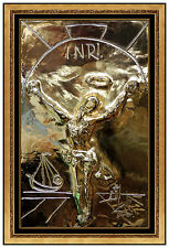 Salvador Dali Bronze Relief Sculpture Gold Edition Signed Christ Cross Signed