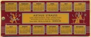 1939 Calendar From Arthur Strauss Insurance original