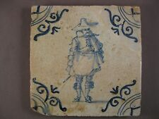 Antique Dutch Delft Tile very rare Soldiers tile 17th - free shipping
