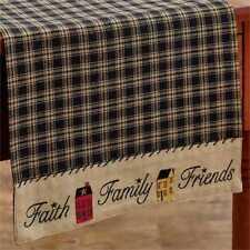 FAITH FAMILY FRIENDS 13 x 54 TABLE RUNNER : FARMHOUSE COUNTRY PRIMITIVE LINEN