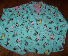 NWT PJ Salvage Blue Flannel Pajamas Shirt/Pants Set OWLS/BUTTERFLIES L SO CUTE