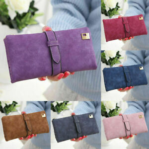 Womens Ladies Suede Leather Clutch Wallet Long Card Holder Case Purse Handbag