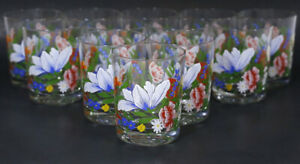 LOT 12 REIMS France GLASS JUICE DRINKING GLASSES Bright Flowers