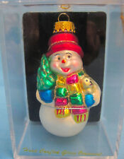 Snowman Christmas Ornament Hand Blown Glass Handpainted Black White Red Hat