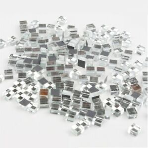 Micro Silver Mirror Glass Mosaic Tiles For Crafts Supplies Artwork 180 Pieces